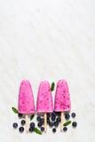 Hemlagad glass med yoghurt, bananen och blåbäret arkivbild
