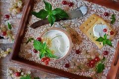 Hemlagad gräddost från get` s mjölkar Arkivfoto