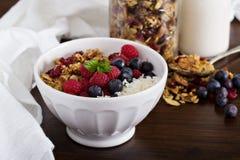 Hemlagad granola med bär royaltyfri foto