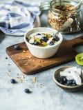 Hemlagad granola med yoghurten, blåbär, kiwi, kokosnöt i en vit bunke Läcker sund frukost på den gråa tabellen fotografering för bildbyråer