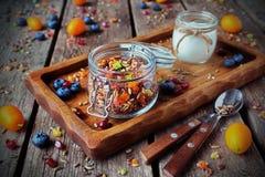 Hemlagad granola med yoghurten för frukost Arkivbilder