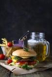 Hemlagad hamburgare med bullen Fotografering för Bildbyråer