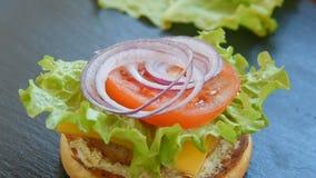 Hemlagad hamburgare med franska småfiskar arkivfilmer
