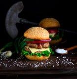 Hemlagad hamburgare med grönsallat, ost, löken och tomaten arkivfoton