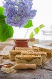 Hemlagad havre och honungtvål Royaltyfri Fotografi