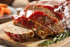 Hemlagad jordnötköttköttfärslimpa Arkivfoto
