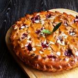 Hemlagad körsbärsröd paj med mandeln, fyrkant royaltyfri foto