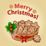 Hemlagad kaka för jul med julpynt royaltyfri illustrationer