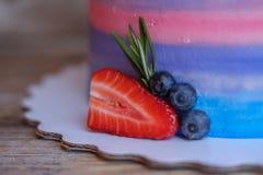 Hemlagad kaka med jordgubbar, blåbär och kokosnöten arkivfoto