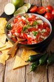 Hemlagad kryddig pico de gallo närbild i en bunke och nachos Vert arkivfoton