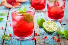Hemlagad lemonad med granatäpplet, mintkaramellen och limefrukt arkivfoto