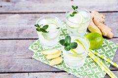 Hemlagad lemonad med limefrukt, mintkaramellen, ingef?ran och is p? tr?lodisar royaltyfria bilder