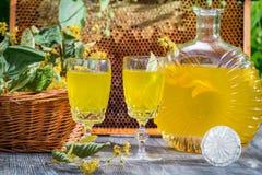 Hemlagad likör som göras av honung och limefrukt Royaltyfri Fotografi