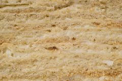 Hemlagad mång--varvad kaka med gräddfil, närbild Royaltyfri Foto