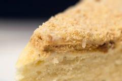 Hemlagad mång--varvad kaka med gräddfil, närbild Royaltyfri Fotografi