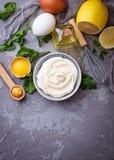Hemlagad majonnässås och olivolja, ägg, senap, citron Fotografering för Bildbyråer
