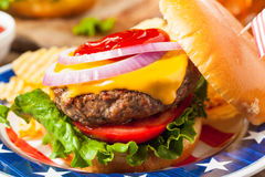 Hemlagad Memorial Day hamburgarepicknick royaltyfria foton