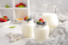 Hemlagad naturlig yoghurt med blåbäret och hallonet Arkivfoto