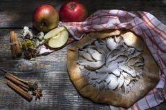 Hemlagad nytt bakad öppen kaka med äpplestycken och sockerpulver på en trätabell arkivbilder