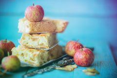 Hemlagad organisk äppelpajefterrätt som är klar att äta royaltyfria foton