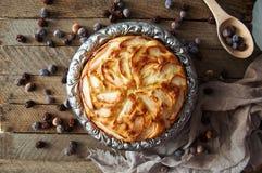 Hemlagad organisk äppelpajefterrätt som är klar att äta Läcker och härlig äppelpaj på en trätabell, på en lantlig wood kökflik arkivbild