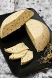 Hemlagad ost med Nigella den sativa frö och rädisan spirar Royaltyfri Fotografi