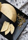 Hemlagad ost med Nigella den sativa frö och rädisan spirar Royaltyfri Bild