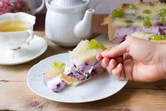 Hemlagad ostkaka med blåbär Arkivbilder