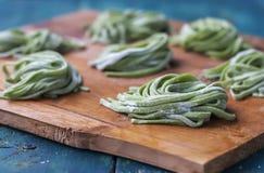 Hemlagad pasta med spenat Arkivfoto