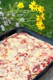 Hemlagad pizza på en bakning Arkivfoto