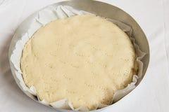 Hemlagad ?pplekaka i pannan i ugnen italienska matlagningmatingredienser arkivfoto