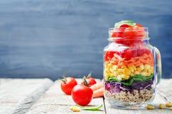 Hemlagad regnbågesallad med grönsaker och quinoaen fotografering för bildbyråer