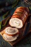 Hemlagad rullande Porchetta stek Fotografering för Bildbyråer