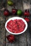 Hemlagad sambal med roselle Fotografering för Bildbyråer