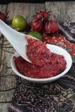 Hemlagad sambal med roselle Arkivfoto