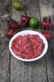 Hemlagad sambal med roselle Royaltyfria Bilder