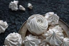 Hemlagad sefir för vanilj, läckra vita marshmallower Arkivfoto