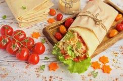Hemlagad Shawarma höna i en pitabröd med nya grönsaker Arkivfoto