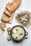 Hemlagad soppa med ägg och korven Fotografering för Bildbyråer