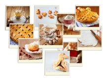 Hemlagad stekhet collage med kakor, nytt bröd, äppelpajen och muffin över träbakgrund royaltyfri bild