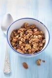 Hemlagad sund granola i bunken för frukost Arkivfoton