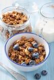 Hemlagad sund granola med blåbäret för frukost Fotografering för Bildbyråer