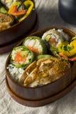 Hemlagad sushi Bento Box med ris Arkivbild
