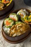 Hemlagad sushi Bento Box med ris Arkivfoto