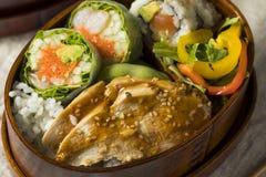 Hemlagad sushi Bento Box med ris Arkivfoton