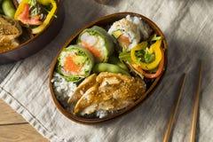 Hemlagad sushi Bento Box med ris Fotografering för Bildbyråer