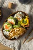 Hemlagad sushi Bento Box med ris Arkivbilder