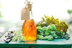 Hemlagad tinktur med alkohol och honung i trädgård Arkivfoton