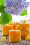 Hemlagad växt- tvål för apelsin och för maskros Fotografering för Bildbyråer