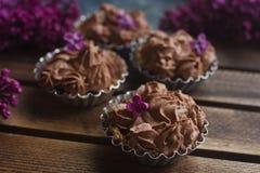 Hemlagad vaniljmuffin med chokladglasyr på kaka på träträbakgrund med lilan Arkivbilder
